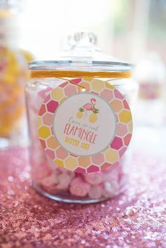 Candy jar from a Flamingo + Flamingle Pineapple Party via Kara's Party Ideas | KarasPartyIdeas.com - The Place for All Things Party! (12)
