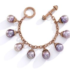 """Mish New York Nigella pink pearl charm bracelet with pink freshwater cultured pearls mounted in 18k rose gold and set with brown diamond pave, $48,000, <a href=""""http://mishnewyork.com/"""">mishnewyork.com</a> -Wmag"""