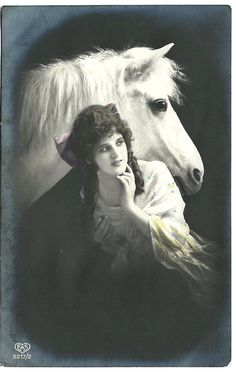 Vintage  phote and Bohemian woman and a very cute white horse!