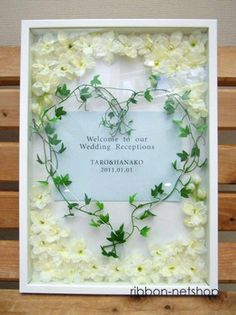 Rakuten: Wedding ceremony ● wedding ● silk flower welcome board (white & green) photo frame type (large size )FL-WCB-04)- Shopping Japanese products from Japan