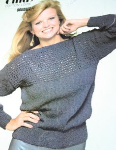 Sweater Knitting Pattern Vintage Bouquet 692 by elanknits on Etsy (Craft Supplies & Tools, Patterns & Tutorials, Fiber Arts, Knitting, knitting pattern, sweater pattern, simple, Bouquet 692, jumper pattern, vintage, eyelet knit pattern, lace knit pattern, easy, beginner, elanknits, boat neck sweater, summer)