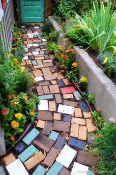 Upcycled scrapwood garden pathway at Farmhouse38.com.