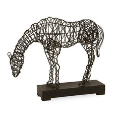 Woven wire makes an intuitive medium for depicting the rippling musculature and flowing lines of the equestrian form. A popular and evocative way of depicting this magnificent animal, Carolyn Kinder c