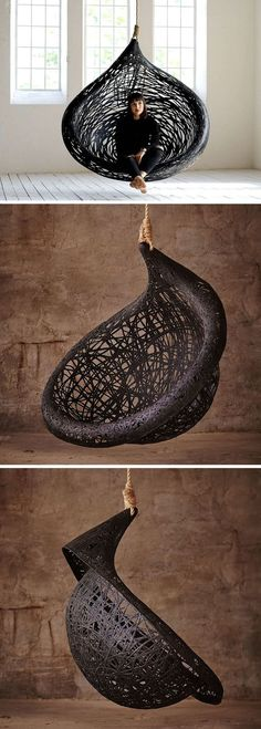 Design Discover This unique hanging chair design is made from black volcanic basalt fibre Designer Raimonds Cirulis of Maffam has created the dramatic looking Ibis Hanging Chair thats made from volcanic basalt fibre and natural resin.