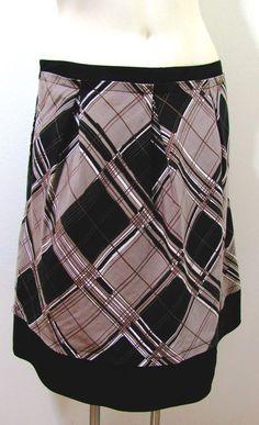 BCBG Max Azria Brown Black PLAID Pleated Skirt Cotton Silk Blend Lined Size 6 S #BCBGMAXAZRIA #ALine