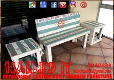 Ocean / Beach themed 2-Seater bench & pedestal set. Affordable, custom built, wooden furniture. Designed by you, built by us. For more info, contact 0834376919 or naileditpallets@gmail.com #benchandpedestal #outdoorfurniture #patiofurniture #palletbenchfurniture  #palletbenchseat #nailedpalletfurnituredurban #naileditcustombuiltpalletfurniture #custompalletfurniture #palletfurniture #palletfurnituredurban #furniturepallet