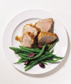 Rosemary-Crusted Pork Tenderloin - easy to make and delicious!  This dish surprised me how good it was. I served it with broccoli and rice pilaf instead of the bean mixture recommended.