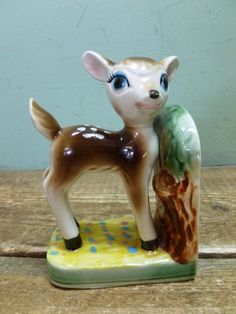Single Retro Kitsch Vintage Bambi Deer Pottery China Book End Ornament 1950 1960