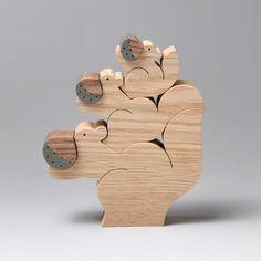 組み木 木のおもちゃ 『遊プラン』 KA126 | 3匹のリスと栗の実・M