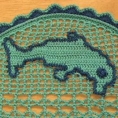Diving #Dolphin in Ocean - Filet #Crochet Image Art Decor by RSS Designs In Fiber @rssdesignsfiber