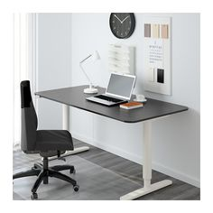 BEKANT Desk sit/stand, black-brown, white black-brown/white 63x31 1/2