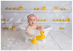 Tacoma First Birthday Milestone Photographer Baby Milk Bath, Baby Tub, 1st Birthday Party For Girls, Baby Boy First Birthday, Newborn Baby Photos, Baby Poses, Milestone Birthdays, First Birthdays, Rubber Duck Birthday