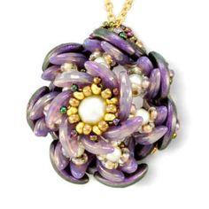 "FREE BEADING PATTERN - ""Datura Pendant"" by Nichole Starman    | Eureka Crystal Beads |    #beading #beads #bracelet #necklace #anklet #beadwork #beadweaving #beadloom #beading #Swarovski #gita #findings #bicones #rivolis #chatons #wirework #wirewrap #wirejewelry #jewelry #wirewrapping #seed #beads #miyuki #delica #delicas #toho #czechmates #kits #diy #craft #stringing #tutorial #czech #czechglass #glass #czechbeads #wholesale #bulk"