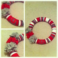 Yarn wreath. Christmas present for an OSU fan! I still need to add some buckeyes to it.