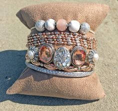 Rose gold and silver with lots of sparkle!  Featuring Pandora Essence, Officina Bernardi, Lori Bonn's Bonn Bons, and Ti Sento Milano! #armparty #charmedarm