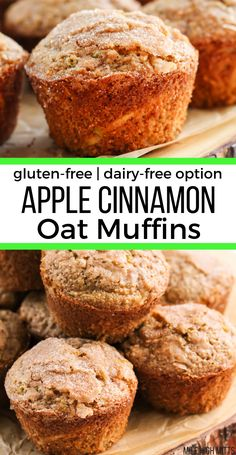 Classic Apple Cinnamon Oat muffins made with sweet apples and warm cinnamon, and made healthy with applesauce and oat flour. These easy, moist muffins are topped with a light cinnamon sugar topping an Muffins Sans Gluten, Dairy Free Muffins, Oat Flour Muffins, Oat Pancakes, Easy Gluten Free Cookies, Oat Flour Cookies, Whole Wheat Muffins, Gluten Free Cinnamon Rolls, Gluten Free Banana Bread