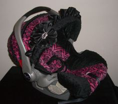 Hot pink crown with black minky dot infant by ohsewdarlingcustoms, $139.99