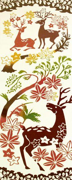 [気音間]注染手ぬぐい鹿の苑(しかのその)【日本手拭い(てぬぐい)】【鹿(シカ)・紅葉(もみじ)・草木・秋】手ぬぐい(てぬぐい)