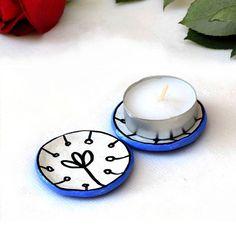 Blue Candle Holders - set of 2 flower tea light holders ceramic home decor tea bag holder Holiday Gift Ch009 by StudioDhomeDecor