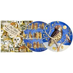 """Set of Two Owls 8 1/2"""" Plates Boxed"""