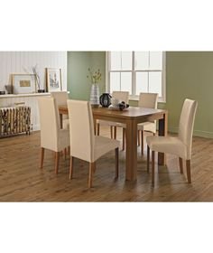 Buy Heart of House Alston Oak Dining Table and 8 Cream Chairs at