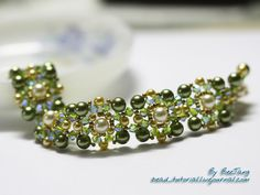 """Rikku"" bracelet tutorial from ""BeeJang"" posted 12 April 2012. Make each piece and connect them together."