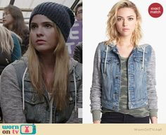 Malia's denim jacket with grey sleeves on Teen Wolf. Outfit Details: http://wornontv.net/36740/ #TeenWolf