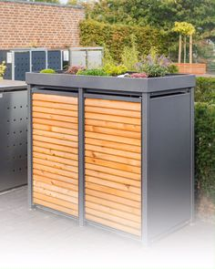 Garbage Can Storage, Garbage Shed, Storage Bins, Recycling Bin Storage, Outdoor Privacy, Outdoor Decor, Modern Outdoor Storage, Bin Shed, Bin Store