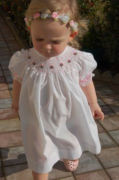 Smocking dress BISHOP style white with pink roses by whitedaisys, $29.00