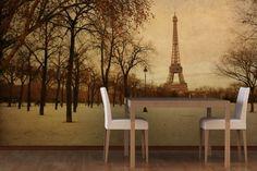 Vintage Golden Paris Mural