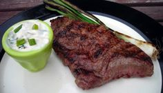 Steak with Grilled Green Onion and Sauce