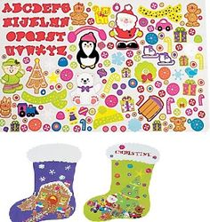 DIY Giant Christmas Stocking Sticker Scenes (2shts) :   Set Includes 1 x 27.9 cm x  45.4 cm paper background and 1 x sticker sheet. (169 - 190 stickers per sheet)  Stickers are repositionable and acid free.