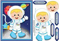 Lovely Blond Space Cadet Birthday boy on Craftsuprint - Add To Basket!