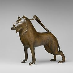 Aquamanile in the Form of a Lion.  Date:     late 13th century–early 14th century. Geography:     Made in, Lower Saxony. Culture:     German. Medium:     Copper alloy.