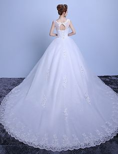 Ball Gown Scoop Neck Cathedral Train Tulle Wedding Dress with Lace by Embroidered bridal