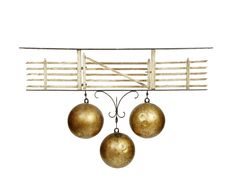 A 19TH CENTURY WROUGHT IRON AND PAINTED PAWNBROKER'S SHOP SIGN modelled as an opening five bar gate with three gilded sphere drops suspended below 94cm wide