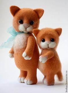 Zwei Katzen zum filzen