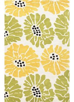 Rosenberry Rooms has everything imaginable for your child's room! Share the news and get $20 Off  your purchase! (*Minimum purchase required.) Flora Rug in White and Bright Yellow #rosenberryrooms