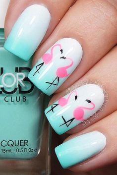 Looking for easy nail art ideas for short nails? Look no further here are are quick and easy nail art ideas for short nails. Get Nails, Fancy Nails, Trendy Nails, Flamingo Nails, Pink Flamingos, Nagellack Design, Beach Nails, Creative Nails, Gorgeous Nails
