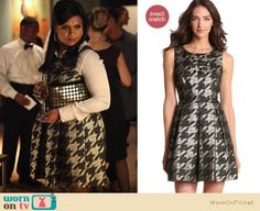 Mindy's metallic houndstooth dress still available for $148 http://wornontv.net/10562