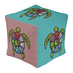 Turtle Ba-Gua Cube Pouf from TheElementalHome* on Zazzle