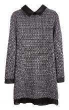 Black Lapel Long Sleeve Back Zipper Tweed Dress $30.97
