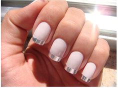 Pink nails with silver tips nails pink nail silver pretty nails nail art manicure nail ideas nail designs Metallic Nails, Matte Nails, Silver Nails, Metallic Pink, Acrylic Nails, Neutral Nails, Stiletto Nails, French Nails, French Manicures