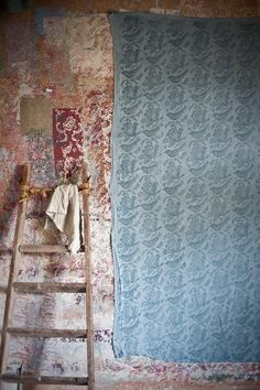 ecotale linen printed & dyed with with annie sloan paint flock patterned paint rollers