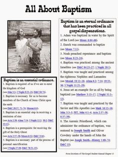 """We are having a Baptism Preview Night and my topic of discussion is: What can I do to prepare for baptism?Well.... start by studying the scriptures of course!I made an """"in depth"""" study guide that i"""
