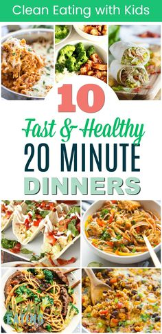 Coming home from work too late and tired to cook? These 20 MINUTE {OR LESS} Dinners are healthy and fast to make. And kid friendly too! family dinner 12 Super Fast Healthy Family Dinner Recipes (That take 20 minutes or LESS to Make) - Clean Eating wi Dinner For One, Sunday Dinner Vegan, Healthy Family Dinners, Healthy Dinners For Kids, Kids Meals, Pasta Dinner Recipes, Healthy Dinner Recipes, Fast Healthy Meals, Eating Clean