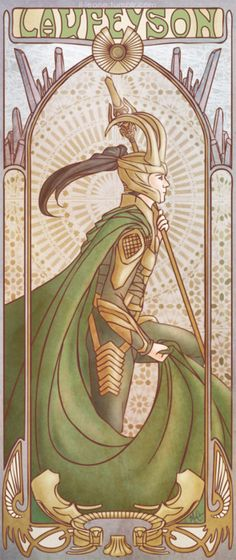 Art Deco Loki. I wouldn't mind having that on my wall...