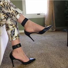 [J. Crew] Quinn Ankle Cuff Pumps Listed price starts at original retail and is dropped 10% each Friday. Bundle at any time for 30% off or enter an offer through the offer feature  Good used condition heels. Some wear, scuffs on toe and heel.   120329J J. Crew Shoes Heels