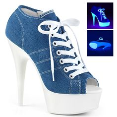 Hot For Heels And More - Pleaser Denim Blue Canvas And Neon White - Open toe lace up front canvas sneaker featuring UV black light reactive platform bottom, full inside zip closure. Blue High Heels, Blue Pumps, High Heel Sneakers, Platform Sneakers, Sneaker Heels, Sneakers Fashion, Fashion Shoes, Stripper Shoes, Couture Shoes