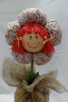 Peso de Porta Menina Flor, Tecido 100% algodão, enchimento siliconado e areia. Pode ser feito em outras cores !